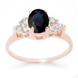 1.41 CTW Blue Sapphire & Diamond Ring 14K Rose Gold - REF-26Y4K - 13732