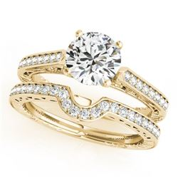 0.57 CTW Certified VS/SI Diamond Solitaire 2Pc Wedding Set Antique 14K Yellow Gold - REF-86A5X - 315