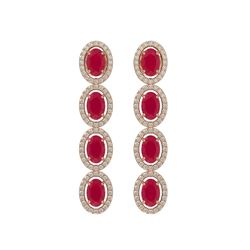 6.47 CTW Ruby & Diamond Halo Earrings 10K Rose Gold - REF-114M2H - 40506