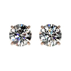 1.09 CTW Certified H-SI/I Quality Diamond Solitaire Stud Earrings 10K Rose Gold - REF-94A5X - 36579
