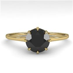 1.0 CTW Black Diamond Solitaire Engagement Ring Vintage Size 7 18K Yellow Gold - REF-50A9X - 35746
