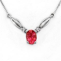 1.30 CTW Pink Tourmaline & Diamond Necklace 10K White Gold - REF-26K4W - 11441