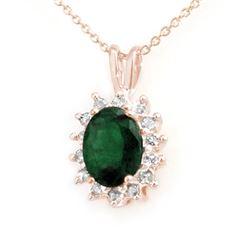 1.80 CTW Emerald & Diamond Pendant 14K Rose Gold - REF-32X8T - 13579