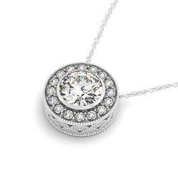 1.25 CTW Certified VS/SI Diamond Solitaire Halo Necklace 14K White Gold - REF-285W5F - 29995