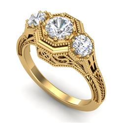 1.05 CTW VS/SI Diamond Solitaire Art Deco 3 Stone Ring 18K Yellow Gold - REF-200A2X - 37102