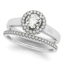 1.05 CTW Certified VS/SI Diamond 2Pc Wedding Set Solitaire Halo 14K White Gold - REF-190F5N - 30627