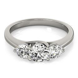 0.5 CTW Certified VS/SI Diamond 3 Stone Wedding Ring 18K White Gold - REF-82Y5K - 28008