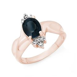 1.58 CTW Blue Sapphire & Diamond Ring 14K Rose Gold - REF-32A2X - 13834