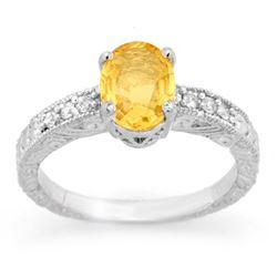 2.28 CTW Yellow Sapphire & Diamond Ring 14K White Gold - REF-61Y8K - 13821