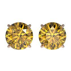2.04 CTW Certified Intense Yellow SI Diamond Solitaire Stud Earrings 10K Rose Gold - REF-297K2W - 36