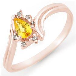 0.35 CTW Yellow Sapphire & Diamond Ring 18K Rose Gold - REF-25A6X - 10894
