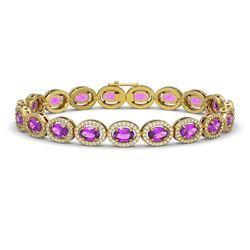 13.11 CTW Amethyst & Diamond Halo Bracelet 10K Yellow Gold - REF-229Y3K - 40492