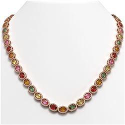 31.96 CTW Multi Color Sapphire & Diamond Halo Necklace 10K Rose Gold - REF-674N4Y - 40449