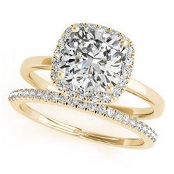 0.8 CTW Certified VS/SI Cushion Diamond 2Pc Set Solitaire Halo 14K Yellow Gold - REF-143K5W - 31408