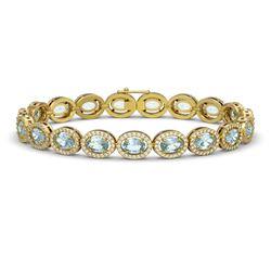 11.02 CTW Aquamarine & Diamond Halo Bracelet 10K Yellow Gold - REF-258T8M - 40477
