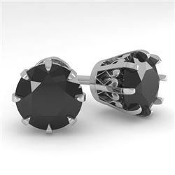 4.0 CTW Black Diamond Stud Solitaire Earrings 18K White Gold - REF-127X3T - 35709