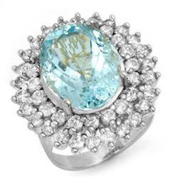 10.50 CTW Aquamarine & Diamond Ring 18K White Gold - REF-280F2N - 14383
