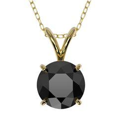 1 CTW Fancy Black VS Diamond Solitaire Necklace 10K Yellow Gold - REF-26A3X - 33187