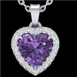 1 CTW Amethyst & Micro VS/SI Diamond Heart Necklace Heart Halo 14K White Gold - REF-28H4A - 21333