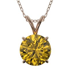 1.50 CTW Certified Intense Yellow SI Diamond Solitaire Necklace 10K Rose Gold - REF-285K2W - 33229