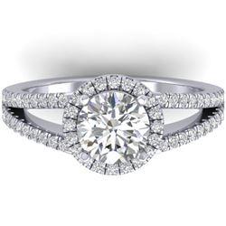 2 CTW Certified VS/SI Diamond Solitaire Micro Halo Ring 14K White Gold - REF-512M2H - 30378