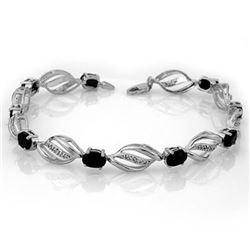 6.10 CTW Blue Sapphire & Diamond Bracelet 14K White Gold - REF-81M8H - 10127
