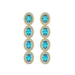 6.28 CTW Swiss Topaz & Diamond Halo Earrings 10K Yellow Gold - REF-103K6W - 40537