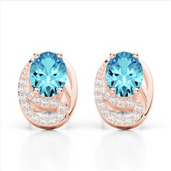 2.50 Sky Blue Topaz & Micro Pave VS/SI Diamond Stud Earrings 10K Rose Gold - REF-25Y6K - 22325