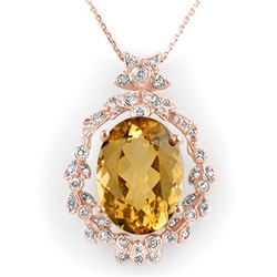 12.8 CTW Citrine & Diamond Necklace 14K Rose Gold - REF-106T8M - 10338
