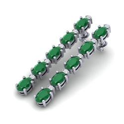17.97 CTW Emerald & VS/SI Certified Diamond Tennis Earrings 10K White Gold - REF-176W4F - 29478