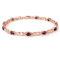 2.03 CTW Amethyst & Diamond Bracelet 10K Rose Gold - REF-25F3N - 13012