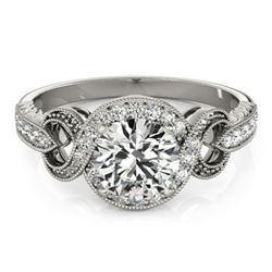 0.8 CTW Certified VS/SI Diamond Solitaire Halo Ring 18K White Gold - REF-125A3X - 26578
