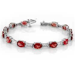 10.04 CTW Pink Tourmaline & Diamond Bracelet 10K White Gold - REF-123W5F - 10754