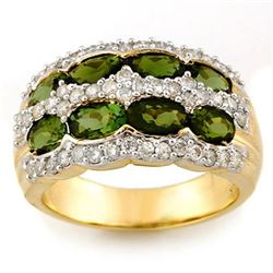 3.0 CTW Green Tourmaline & Diamond Ring 14K Yellow Gold - REF-105Y5K - 11685