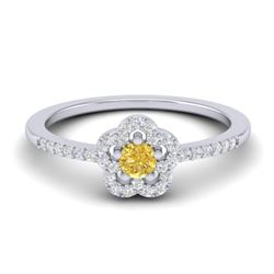 0.40 CTW Citrine & Micro VS/SI Diamond Ring Moon Halo In 10K White Gold - REF-20F8N - 21411