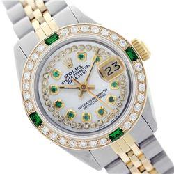Rolex Ladies Two Tone 14K Gold/SS, Diam/Emerald Dial & Diam/Emerald Bezel, Sapphire Crystal - REF-44