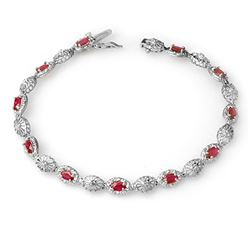 4.17 CTW Ruby & Diamond Bracelet 14K White Gold - REF-63K6W - 14303