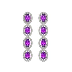 5.56 CTW Amethyst & Diamond Halo Earrings 10K White Gold - REF-103N3Y - 40541