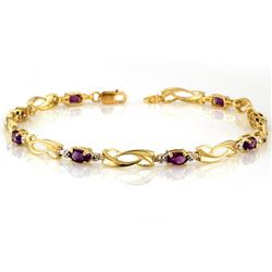 2.02 CTW Amethyst & Diamond Bracelet 10K Yellow Gold - REF-26M4H - 10423