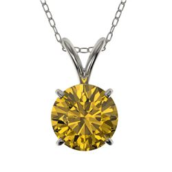 1 CTW Certified Intense Yellow SI Diamond Solitaire Necklace 10K White Gold - REF-147X2T - 33190