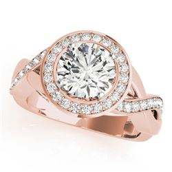 1.5 CTW Certified VS/SI Diamond Solitaire Halo Ring 18K Rose Gold - REF-243M5H - 26171