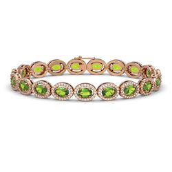 13.87 CTW Peridot & Diamond Halo Bracelet 10K Rose Gold - REF-251Y6K - 40479
