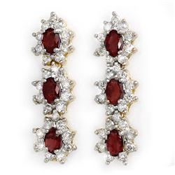 5.63 CTW Ruby & Diamond Earrings 14K Yellow Gold - REF-115Y5K - 14310