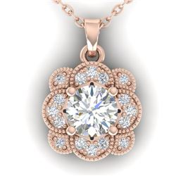 0.75 CTW I-SI Diamond Solitaire Art Deco Necklace 14K Rose Gold - REF-104M8H - 30517