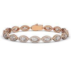 12.16 CTW Marquise Diamond Designer Bracelet 18K Rose Gold - REF-2256M2H - 42744