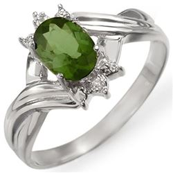 0.79 CTW Green Tourmaline & Diamond Ring 18K White Gold - REF-30N5Y - 11597