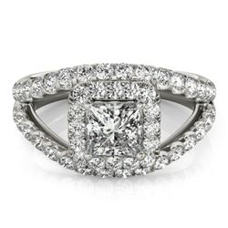 1.85 CTW Certified VS/SI Princess Diamond Solitaire Halo Ring 18K White Gold - REF-261W3F - 27195