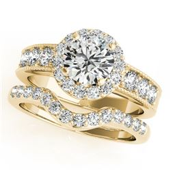 1.96 CTW Certified VS/SI Diamond 2Pc Wedding Set Solitaire Halo 14K Yellow Gold - REF-258K4W - 31312