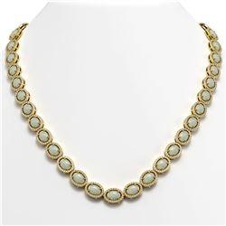 32.42 CTW Opal & Diamond Halo Necklace 10K Yellow Gold - REF-670K8W - 40570