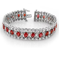 18.50 CTW Red Sapphire & Diamond Bracelet 18K White Gold - REF-559K5W - 14624